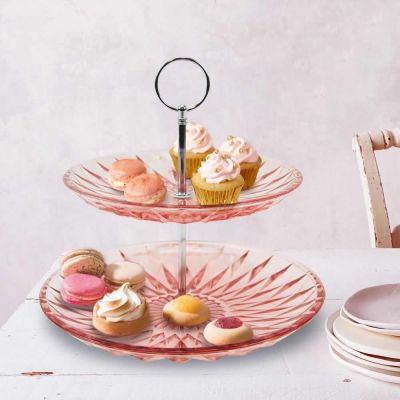 """9.5"""" Pink 2 Tiers Cake Stand"""