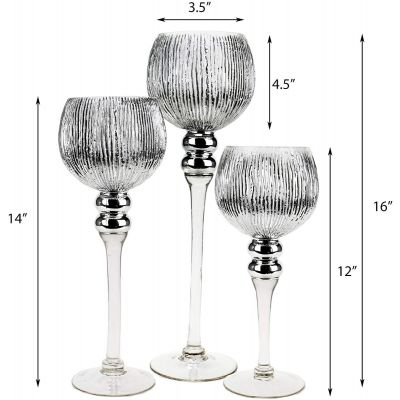 """3-Piece Set, Silver Wavy Etched Mercury Glass Candle Holders. H-12"""", 14"""", 16"""" (Free Shipping)"""