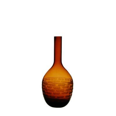 "14.5"" Decorative Olive Green Glass Vase"