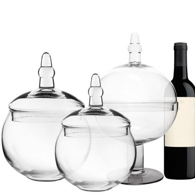 "Set of 3 Glass Apothecary Jars Candy Buffet Containers - H: 16"", 12.5"", 10"""