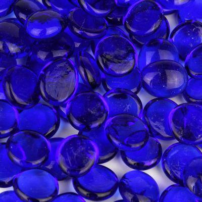 Cobalt Blue Glass Flat Gemstone Vase Fillers