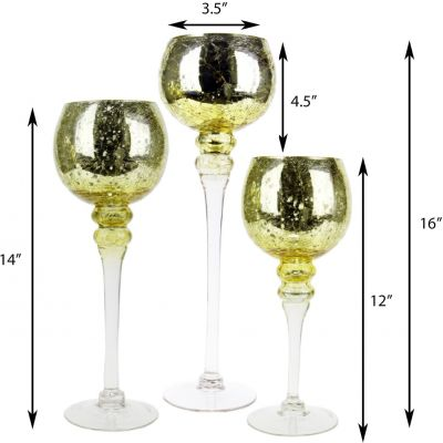 """3-Piece Set, Metallic Gold Crackle Mercury Glass Candle Holders. H-12"""", 14"""", 16"""" (Free Shipping)"""