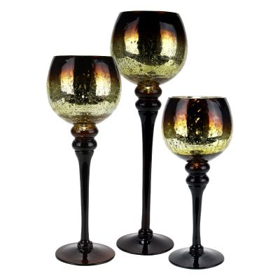 """3-Piece Set, Amber Gold Crackle Mercury Glass Candle Holders. H-12"""", 14"""", 16"""" (Free Shipping)"""