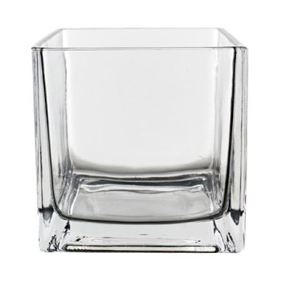 "4"" Decorative Square Cube Glass Vase"