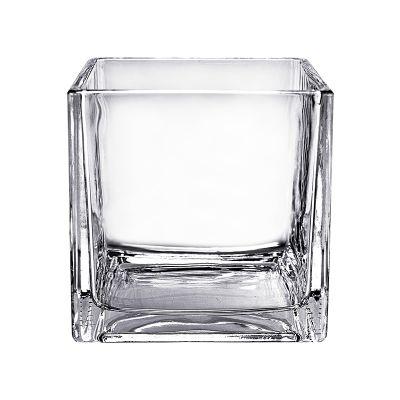 "6"" Decorative Cube Glass Vase"