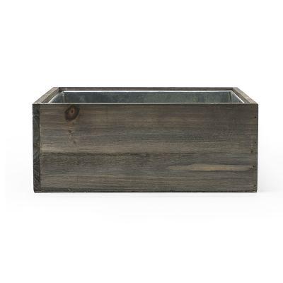 "4"" x 10"" x 10"" Square Wood Planter Box w/ Zinc Liner (Free Shipping)"