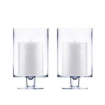 "H-9"", D-6"", Contemporary Short Stem Glass Candle Holder"