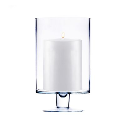"H-9"", D-6"", Contemporary Short Stem Glass Candle Holder"
