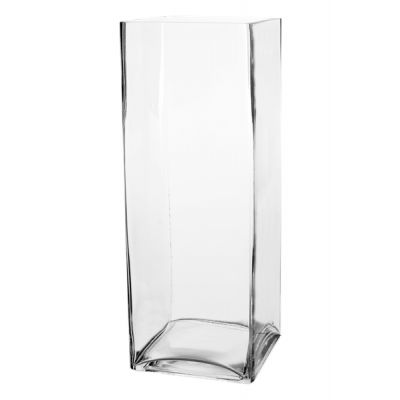 "16"" Decorative Square Cube Glass Vase"