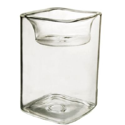 """4"""" Tealight Square Glass Reversible Candle Holder"""