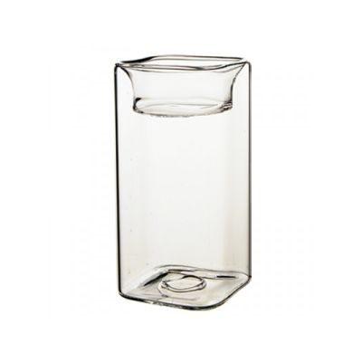 """4.75"""" Tealight Square Glass Reversible Candle Holder"""
