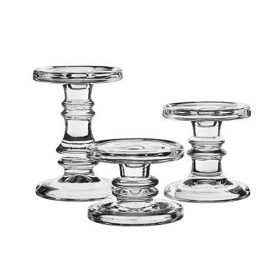 3-Piece Set, Classic Style Glass Taper & Pillar Candlesticks