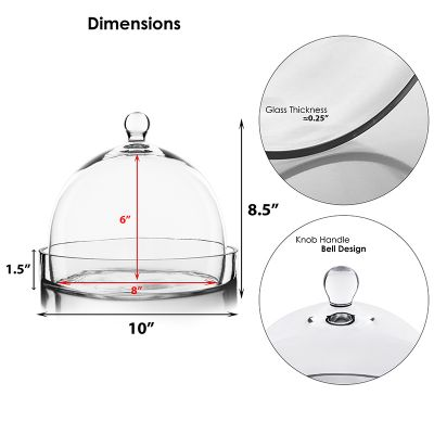 """8.5"""" Glass Dome Cloche Plant Terrarium Bell Jar with Glass Tray"""