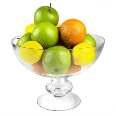 "Glass Footed Fruit Bowl H-8.5"" D-12"" Terrarium Kitchen Pedestal Centerpiece"