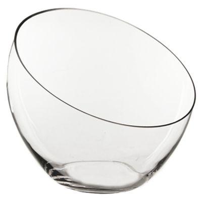 "11"" Slant Cut Asymmetrical Glass Bowl Vase Plant Terrarium Pod"