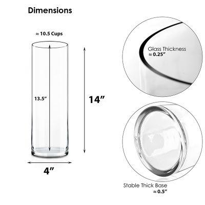 """Clear Glass Cylinder Vase (H:14"""" D:4"""")"""