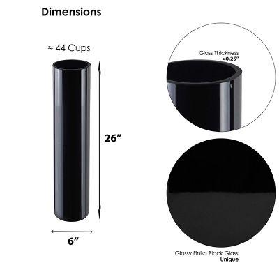 """26"""" Decorative Black Glass Cylinder Vase"""