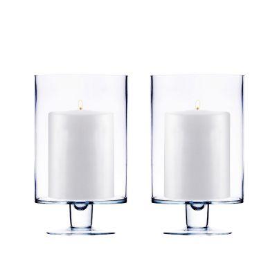 "H-6"", D-3.75"", Contemporary Short Stem Glass Candle Holder"