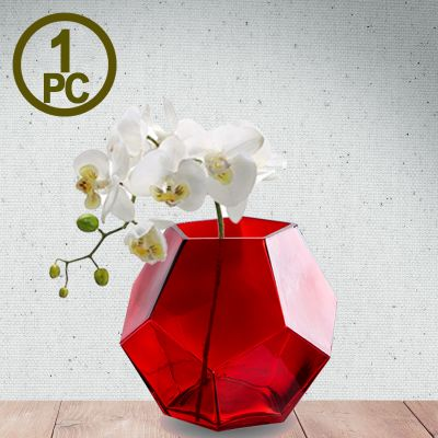"6"" Geometric Red Glass Vases Candle Holder"