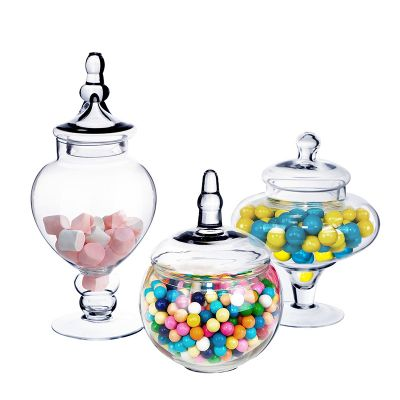 """Set of 3 Glass Apothecary Jars Candy Buffet Containers - H: 10"""", 14.75"""", 10"""""""