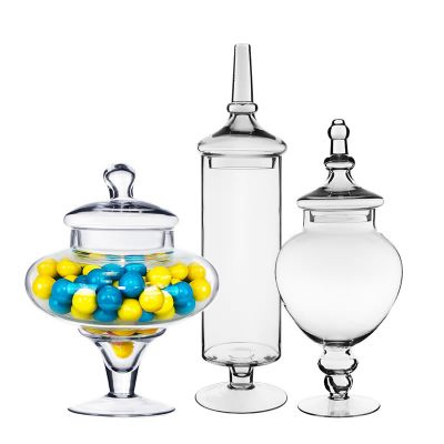 "Set of 3 Glass Apothecary Jars Candy Buffet Containers - H: 10"", 14.75"", 22"""