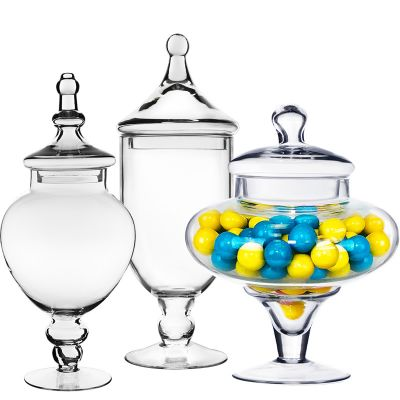"""Set of 3 Glass Apothecary Jars Candy Buffet Containers - H: 10"""", 16.5"""", 14.75"""""""