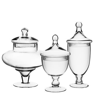 "Set of 3 Glass Apothecary Jars Candy Buffet Containers - H: 13.5"", 10"", 9.5"""