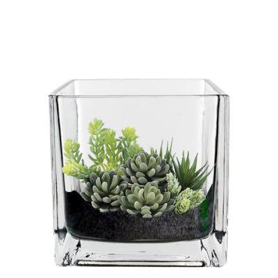 "4.75"" Glass Decorative Cube Vase"