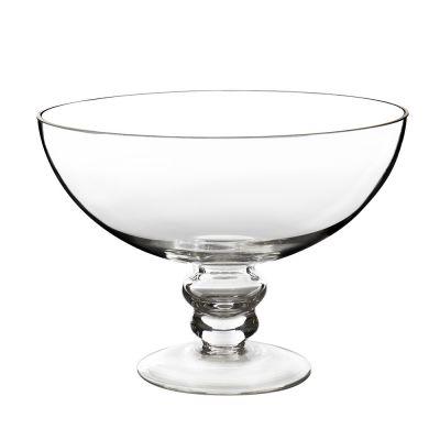 "Glass Footed Fruit Bowl H-6"" D-8"" Terrarium Kitchen Pedestal Centerpiece"