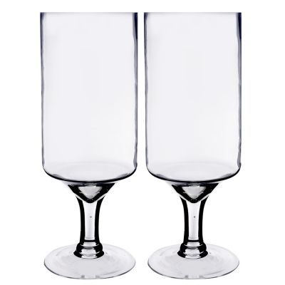 """Glass Pedestal Candle Holder. H-16"""", Opening-6"""", Pack of 2"""