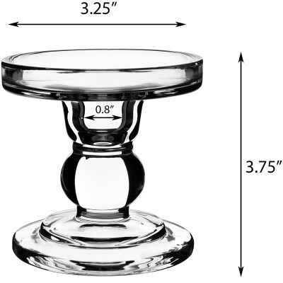 """3.75"""" Bubble Glass Pillar, Taper Candle Holder"""