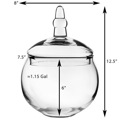 "Glass Apothecary Jar Candy Buffet Container, H-12.5"" O-7.5"" (Free Shipping)"