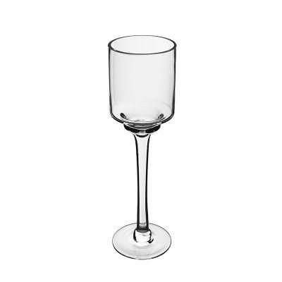 """14"""" Elegant Long Stem Glass Candle Holder"""