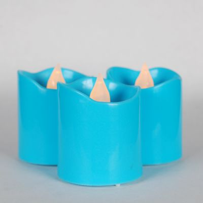 "1.6"" Blue LED Flameless Votive Pillar Candle Party Lights"