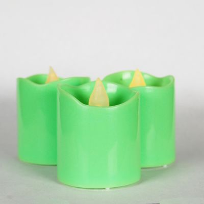"""1.6"""" Green LED Flameless Votive Pillar Candle Party Lights"""