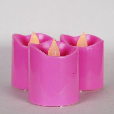 "1.6"" Violet LED Flameless Votive Pillar Candle Party Lights"
