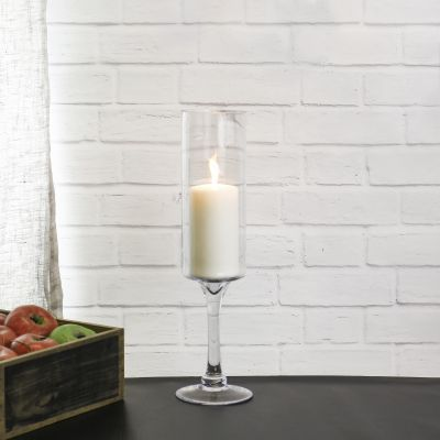 "16"" Contemporary Glass Long Stem Candle Holder"
