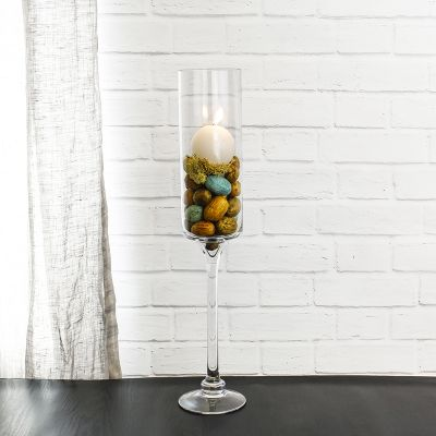 "20"" Contemporary Glass Long Stem Candle Holder"