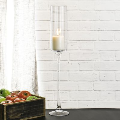 "24"" Contemporary Glass Long Stem Candle Holder"