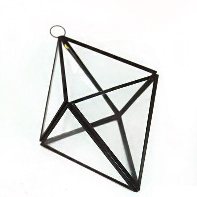 "8"" Hanging Hydroponic Glass Geometric Diamond Terrarium Candle Holders"