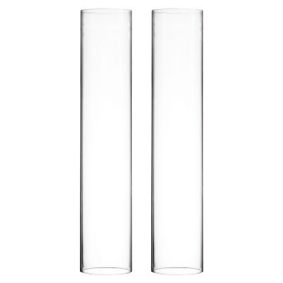 "H-16"", D-3"" Open-Ended Glass Hurricane Candle Shade Chimney Tube"