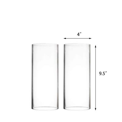 """9.5"""" Hurricane Glass Tube 4"""" Open-Ended Candle Holder Flame Protector"""