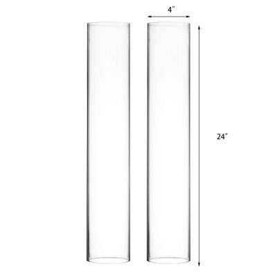"""H-24"""", D-4"""" Open-Ended Glass Hurricane Candle Shade Chimney Tube"""