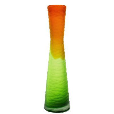 """15"""" Carved Orange and Green Color Glass Vase"""