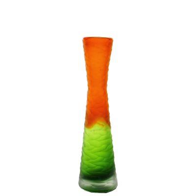 """11"""" Carved Orange and Green Color Glass Vase"""