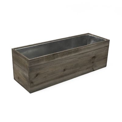 "8"" x 24"" x 8"" Rectangle Wood Planter Box w/ Zinc Metal Liner (Free Shipping)"