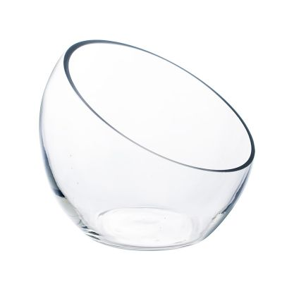 "2 pcs Slant Cut Glass H-6.25"" Bowl for Succulent Terrarium"