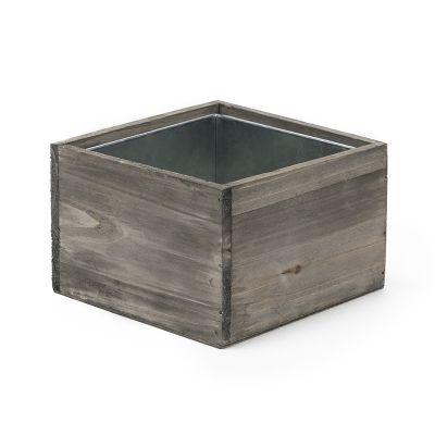 "4"" x 6"" x 6"" Square Wood Planter Box w/ Zinc Metal Liner (Free Shipping)"