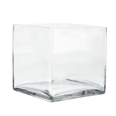 "8"" Decorative Cube Glass Vase"