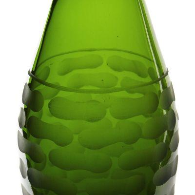 "13"" Decorative Olive Green Glass Vase"